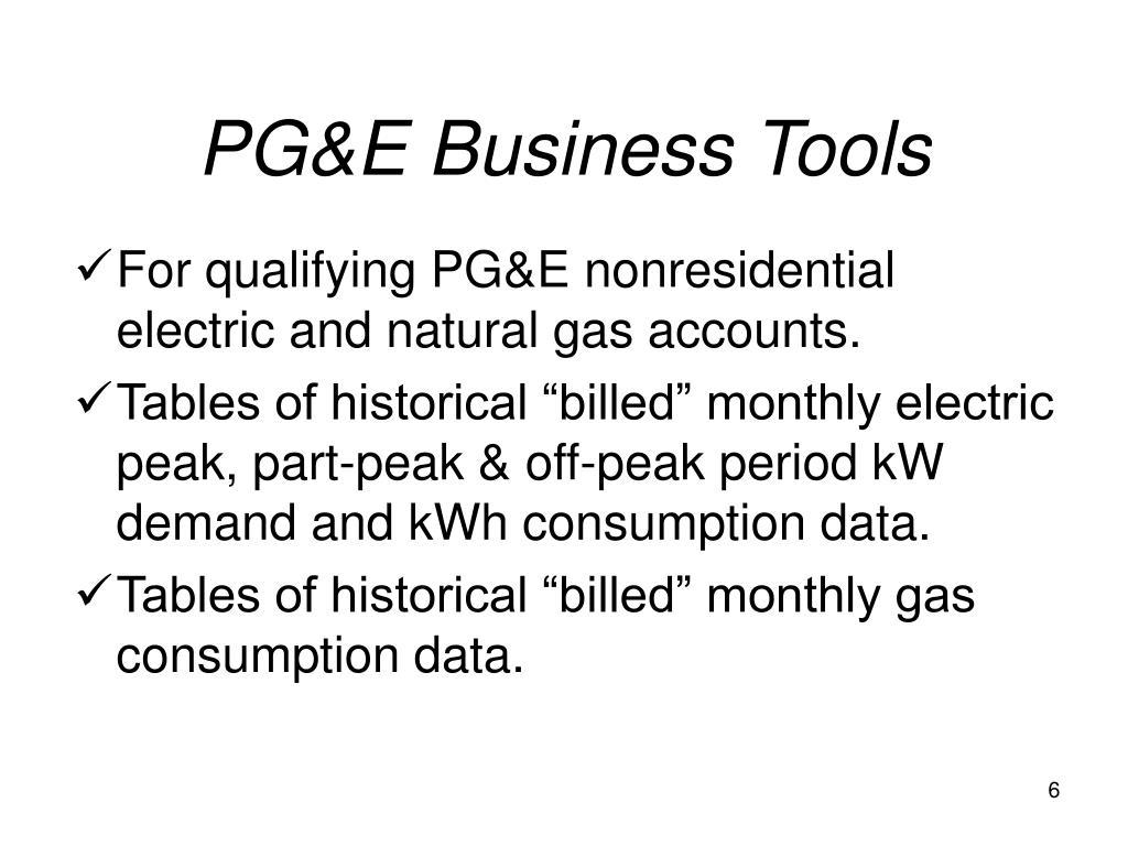 PG&E Business Tools