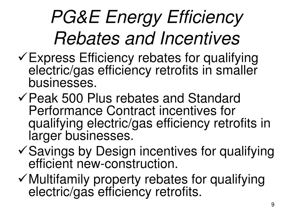 PG&E Energy Efficiency Rebates and Incentives