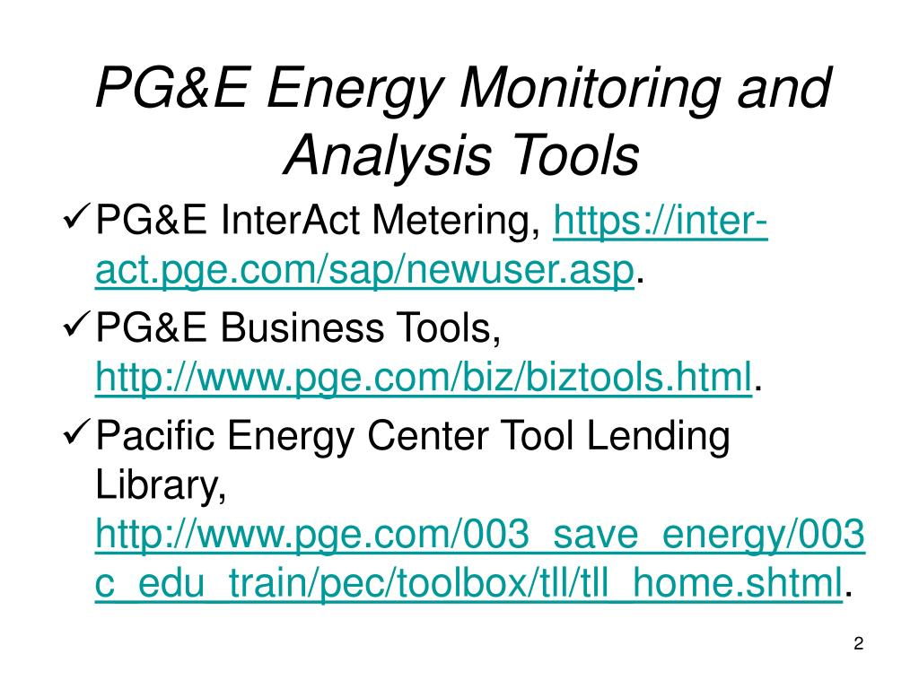 PG&E Energy Monitoring and Analysis Tools