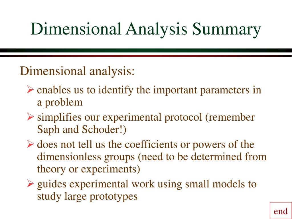Dimensional Analysis Summary
