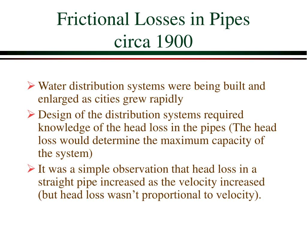 frictional loss in pipe Calculate the pressure loss in pipes includes pipe friction.