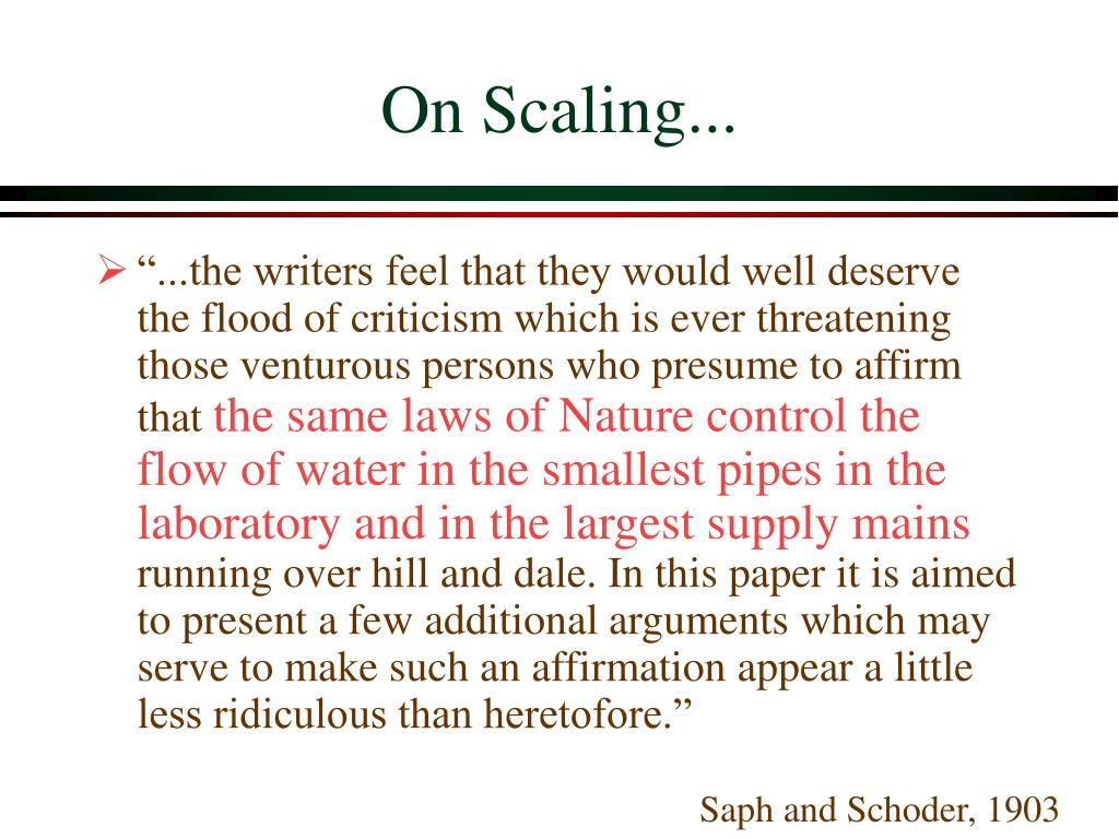 On Scaling...