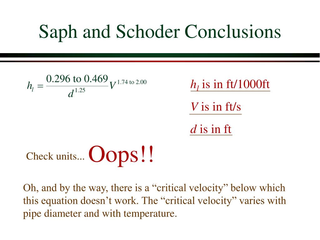 Saph and Schoder Conclusions