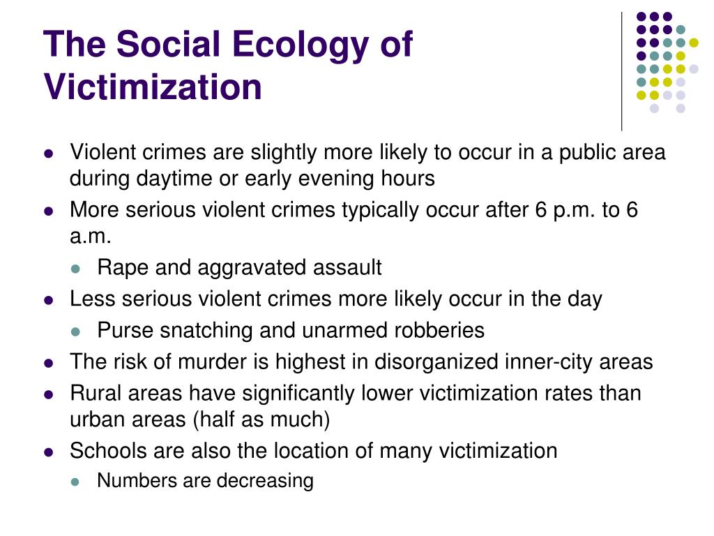 The Social Ecology of Victimization