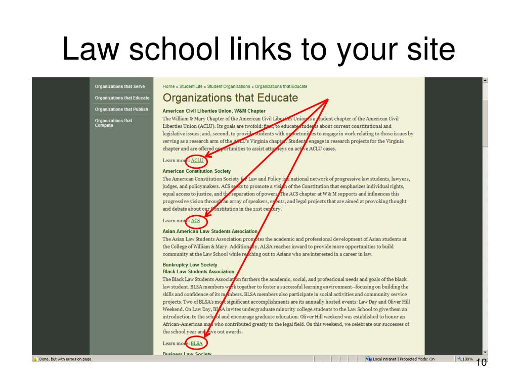 Law school links to your site