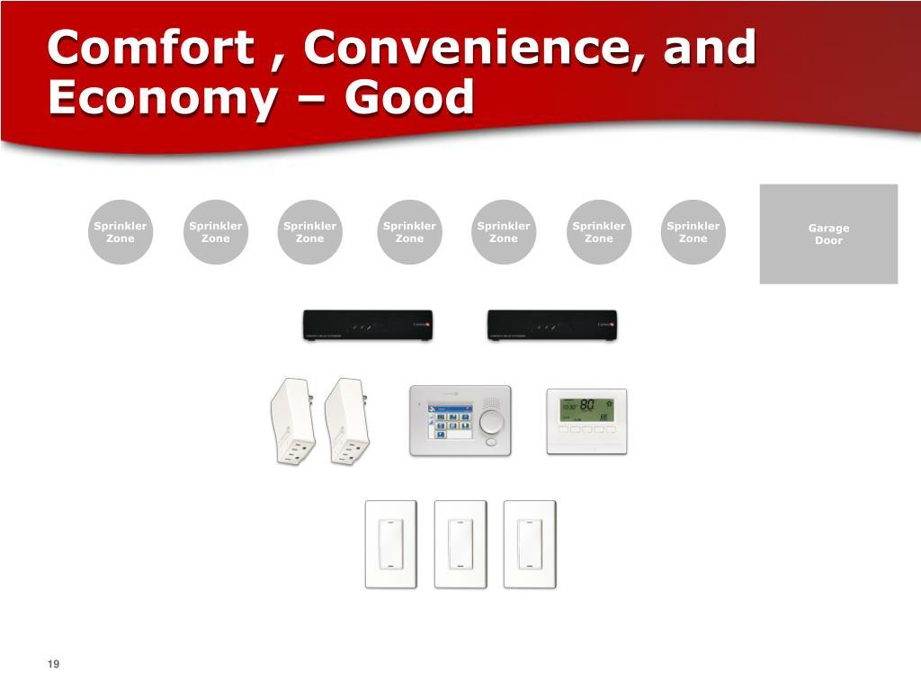 Comfort , Convenience, and Economy – Good