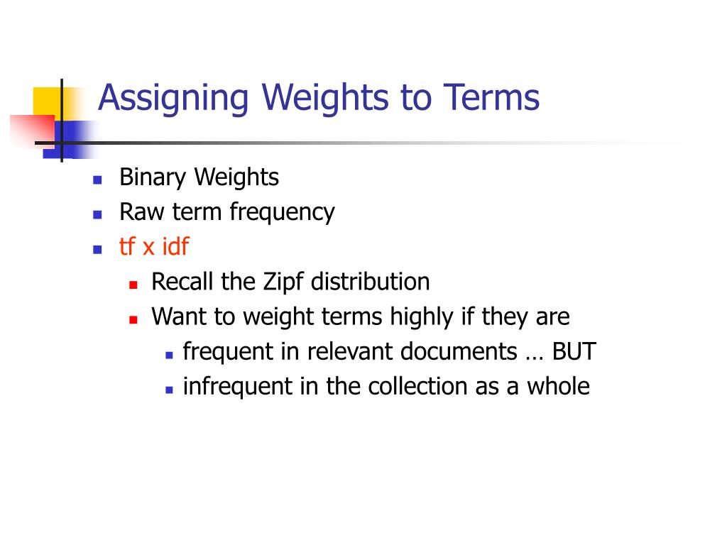 Assigning Weights to Terms