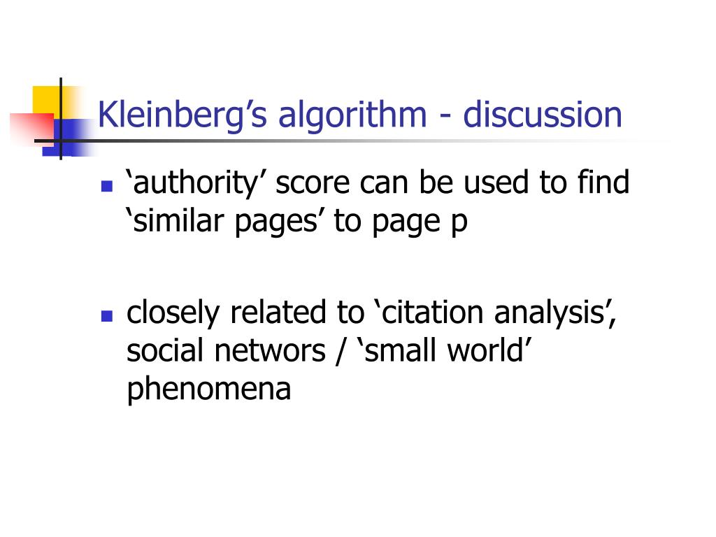 Kleinberg's algorithm - discussion
