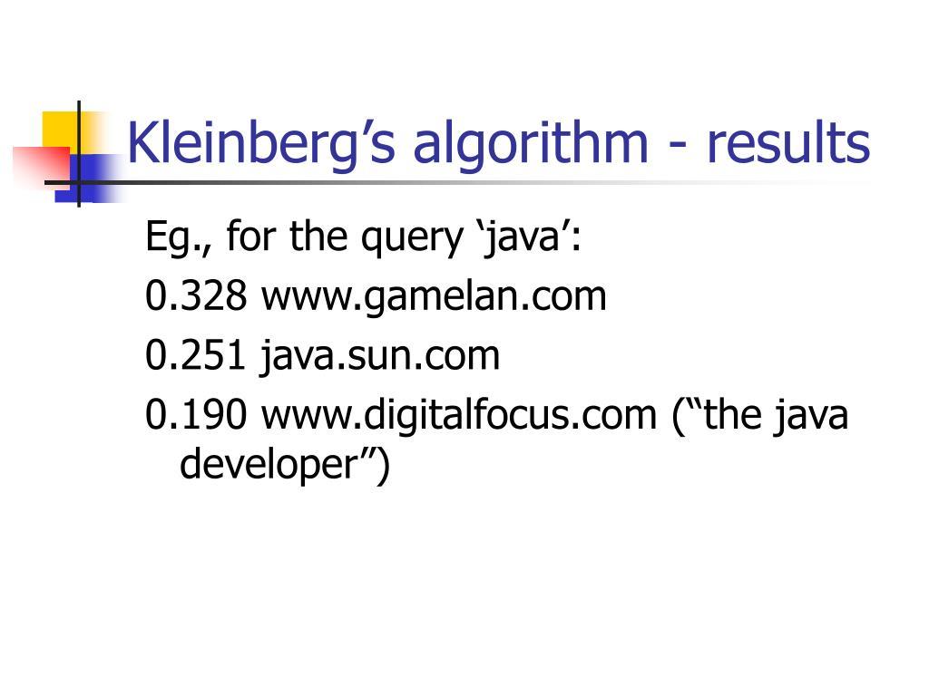 Kleinberg's algorithm - results
