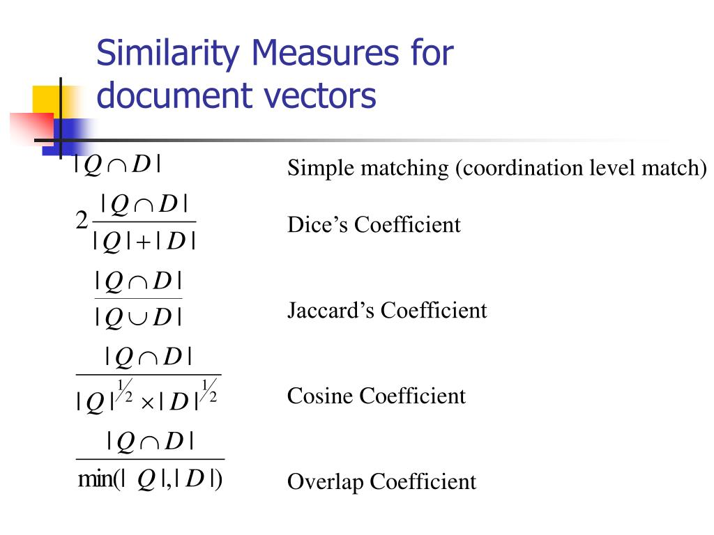 Similarity Measures for document vectors