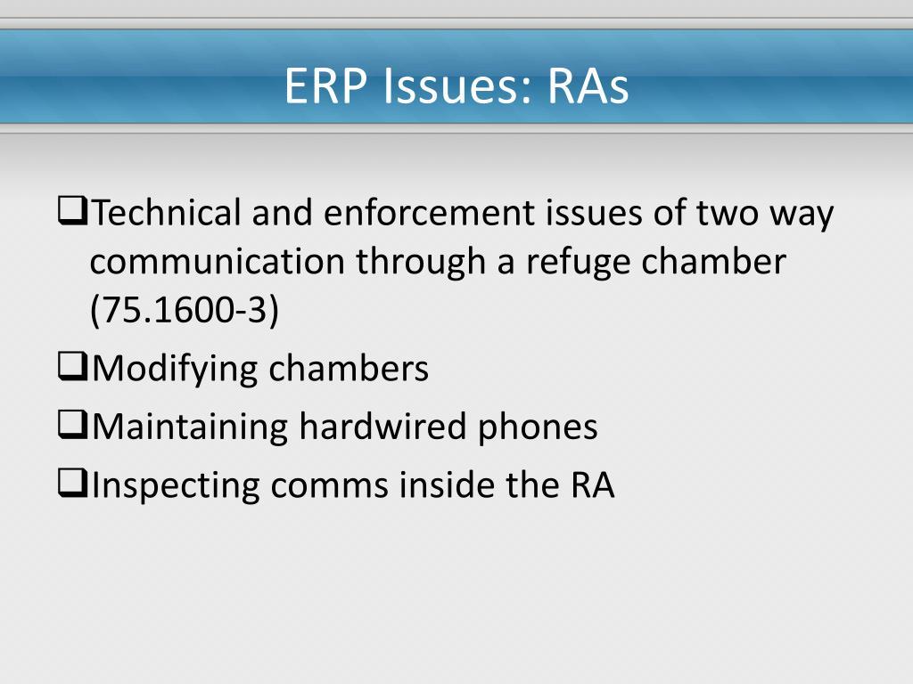 ERP Issues: RAs