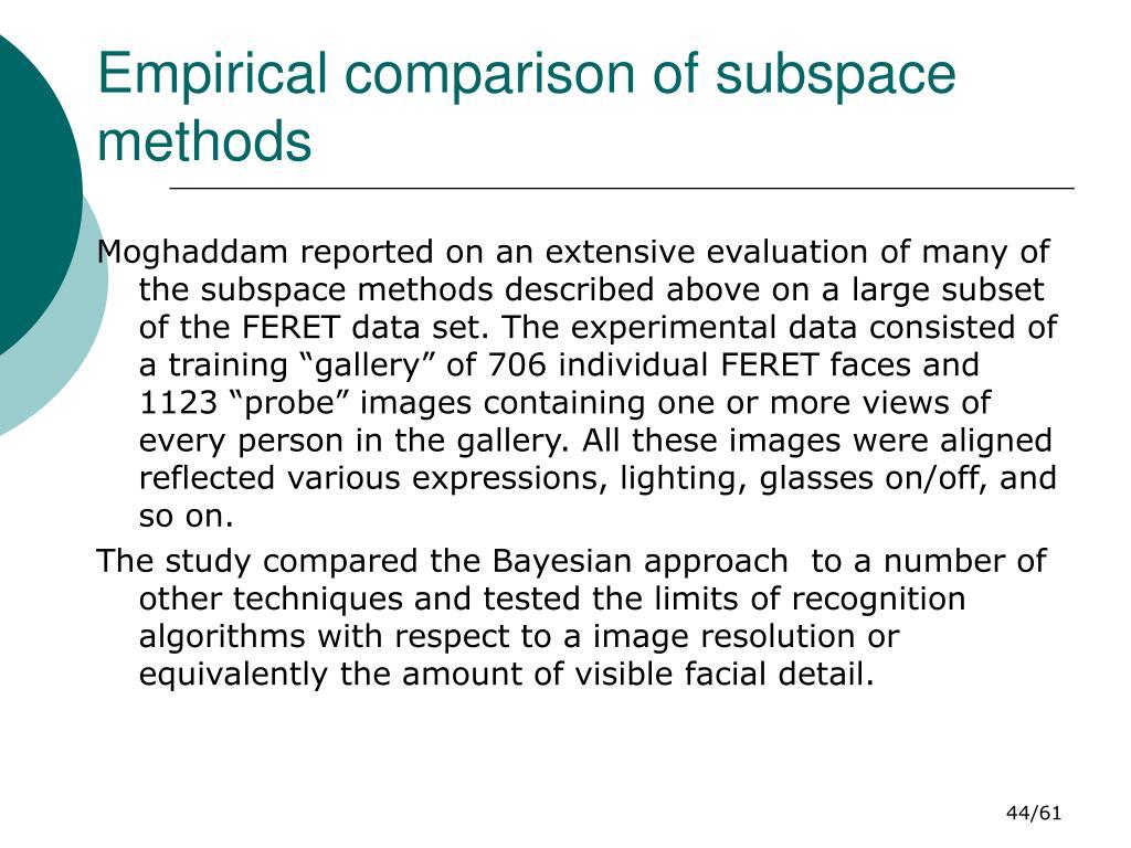 Empirical comparison of subspace methods