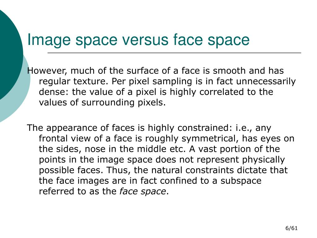 Image space versus face space