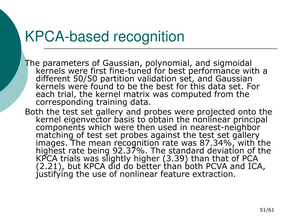 KPCA-based recognition