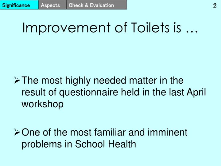 Improvement of toilets is