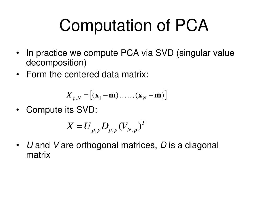 Computation of PCA