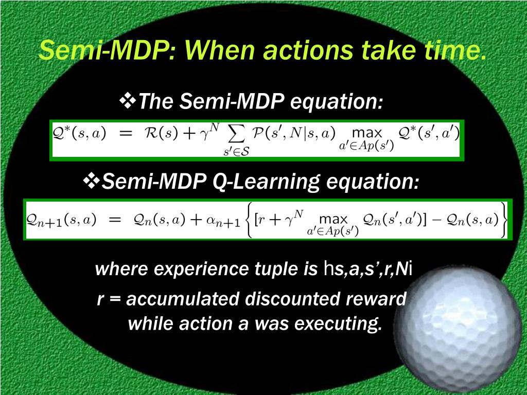 Semi-MDP: When actions take time.