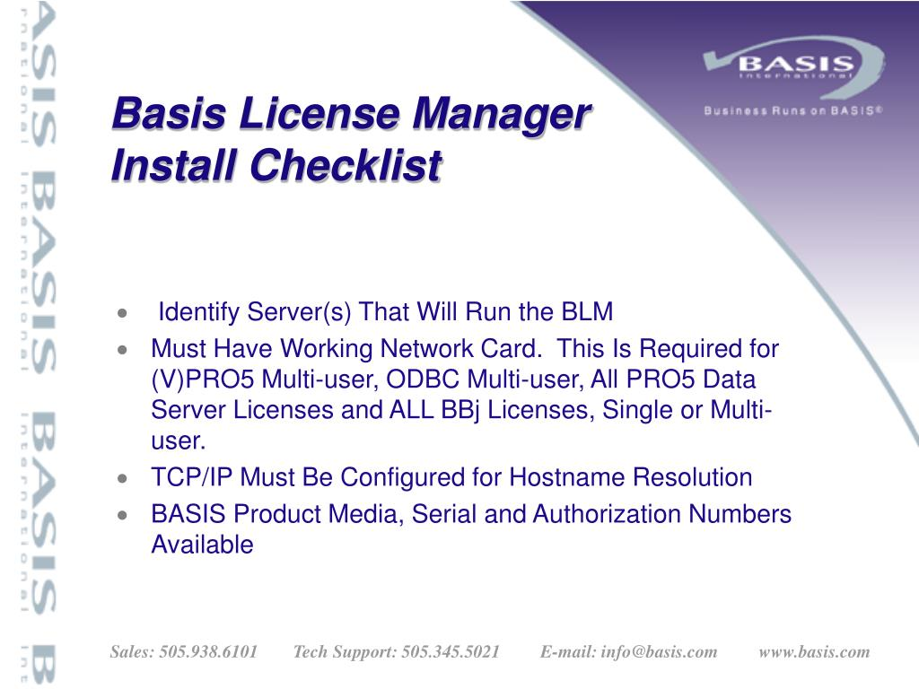 Basis License Manager