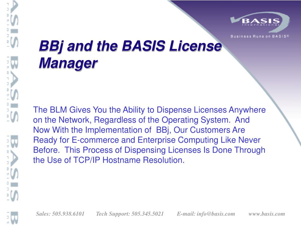 BBj and the BASIS License Manager