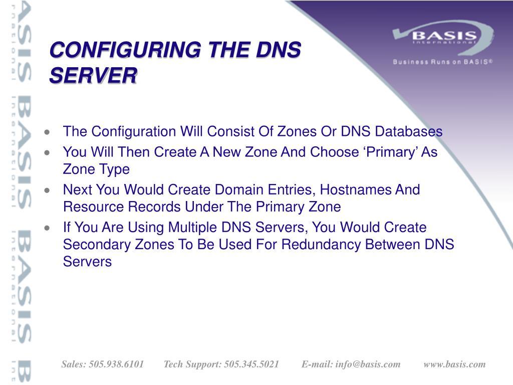 CONFIGURING THE DNS
