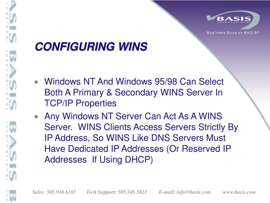 CONFIGURING WINS