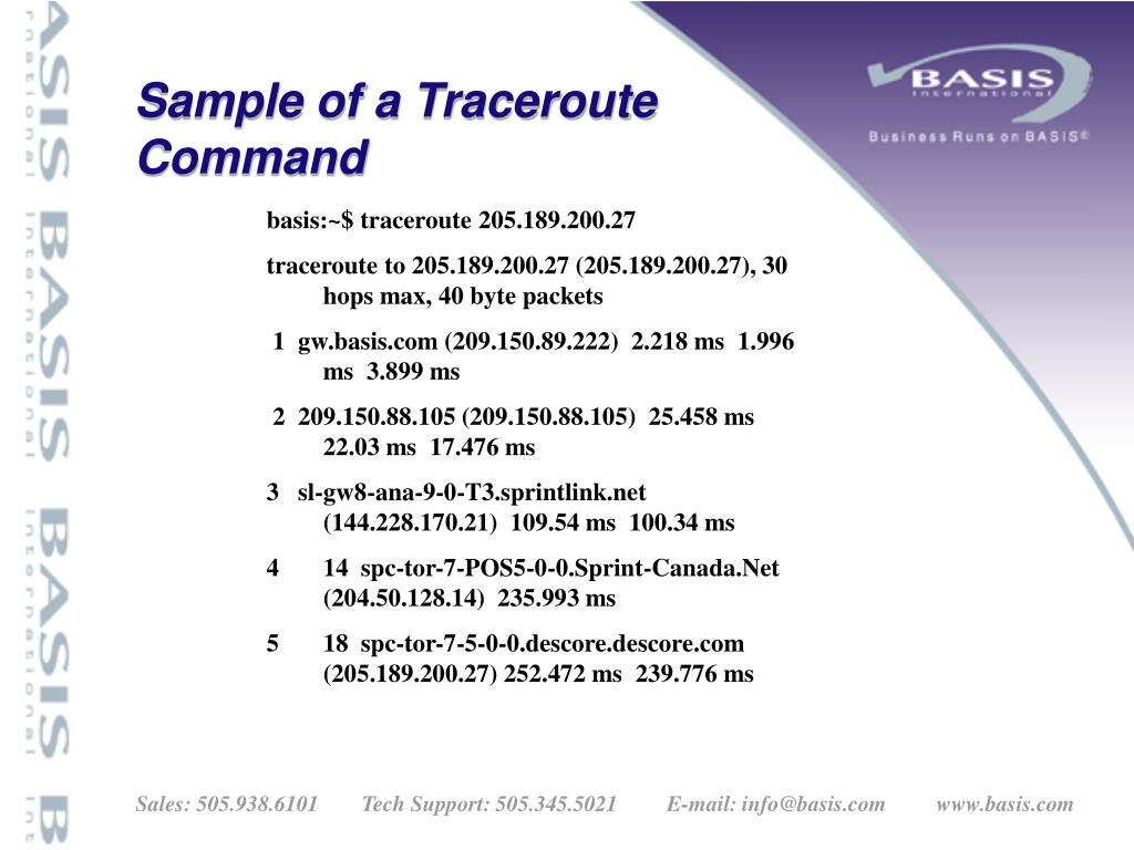 Sample of a Traceroute