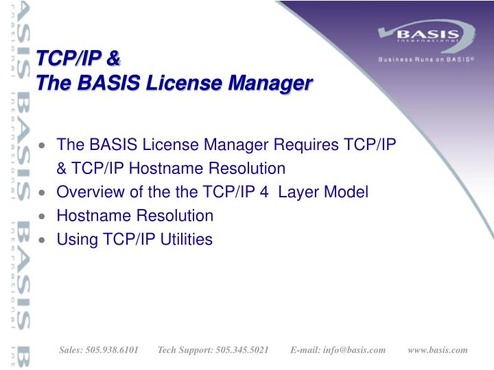 Tcp ip the basis license manager