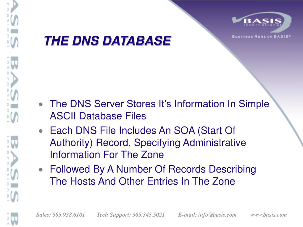 THE DNS DATABASE
