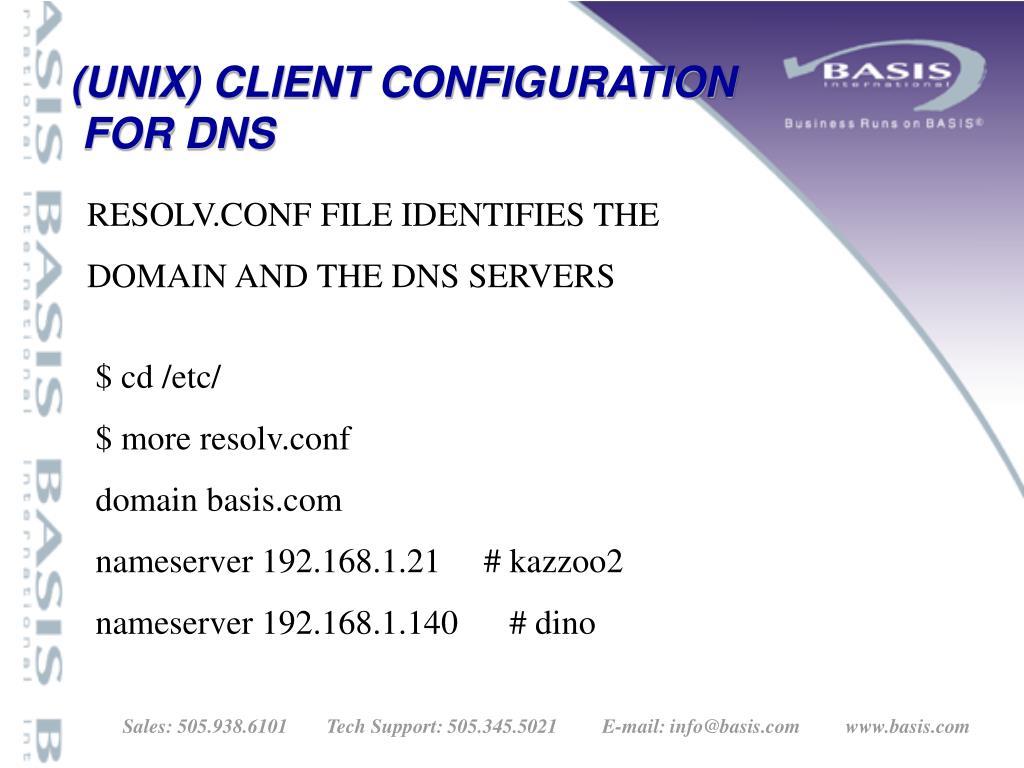 (UNIX) CLIENT CONFIGURATION