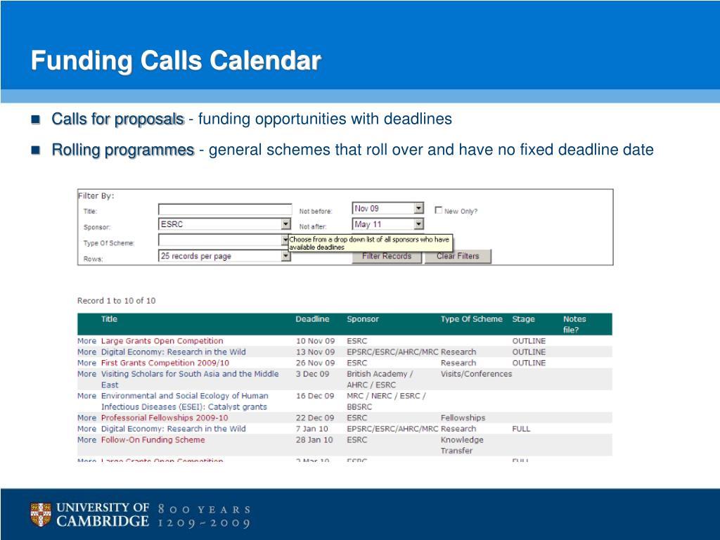Funding Calls Calendar