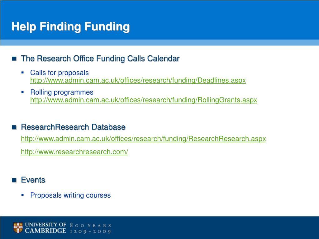 Help Finding Funding