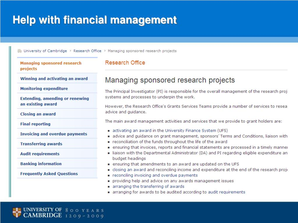 Help with financial management