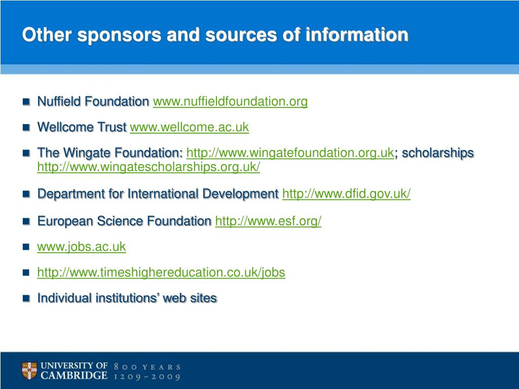 Other sponsors and sources of information