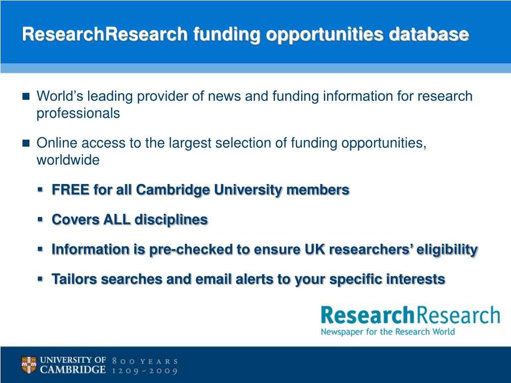 ResearchResearch funding opportunities database