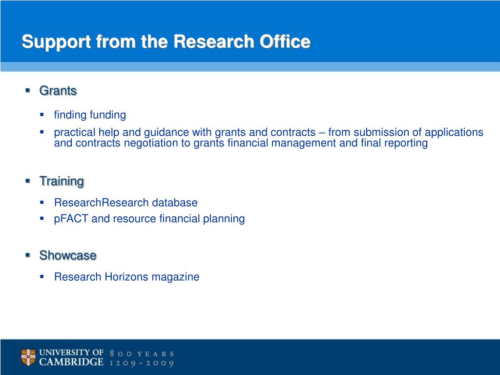 Support from the Research Office