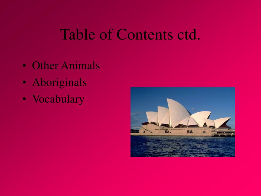 Table of Contents ctd.