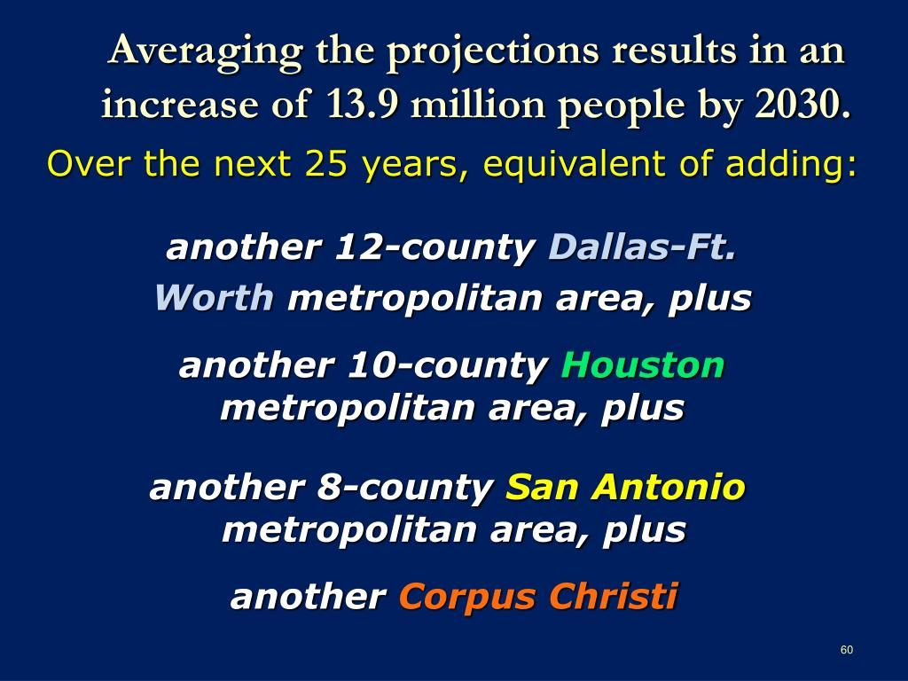 Averaging the projections results in an increase of 13.9 million people by 2030.