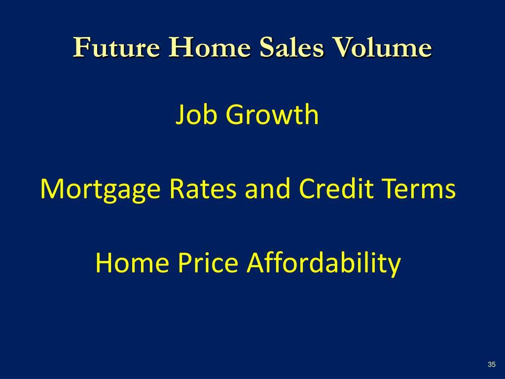 Future Home Sales Volume