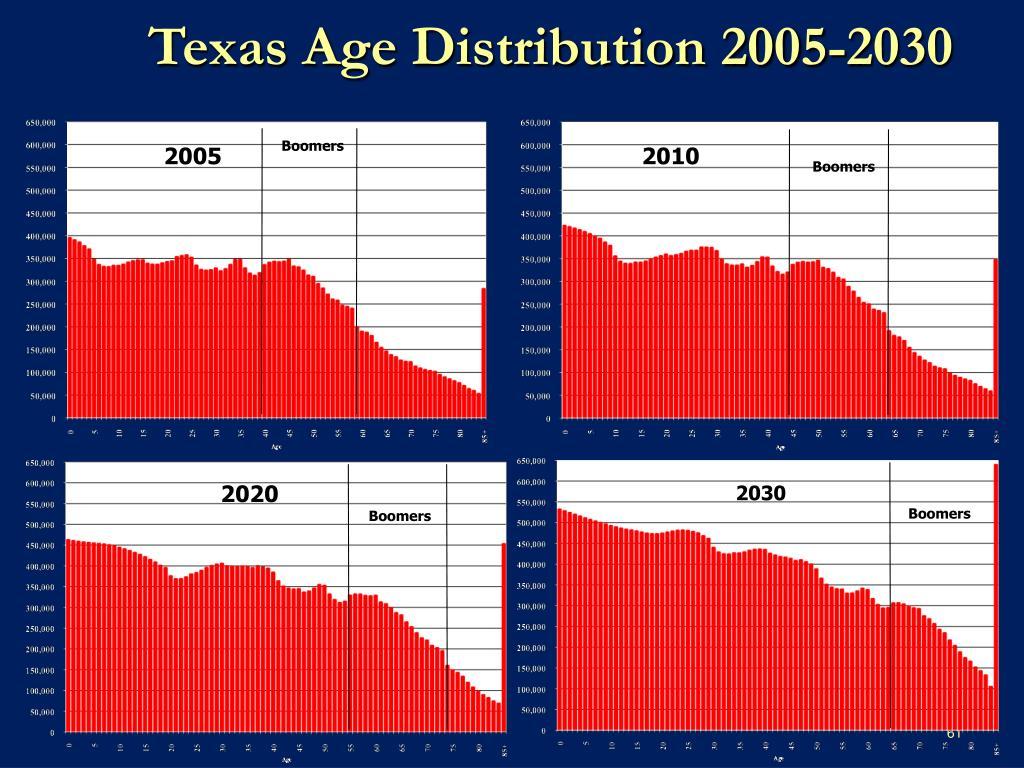 Texas Age Distribution 2005-2030