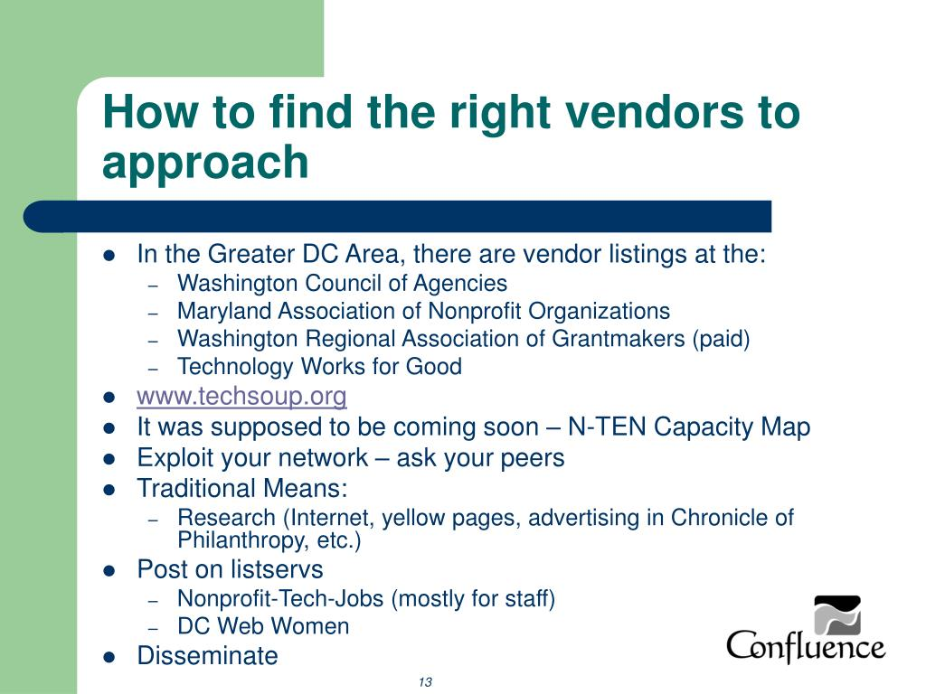 How to find the right vendors to approach
