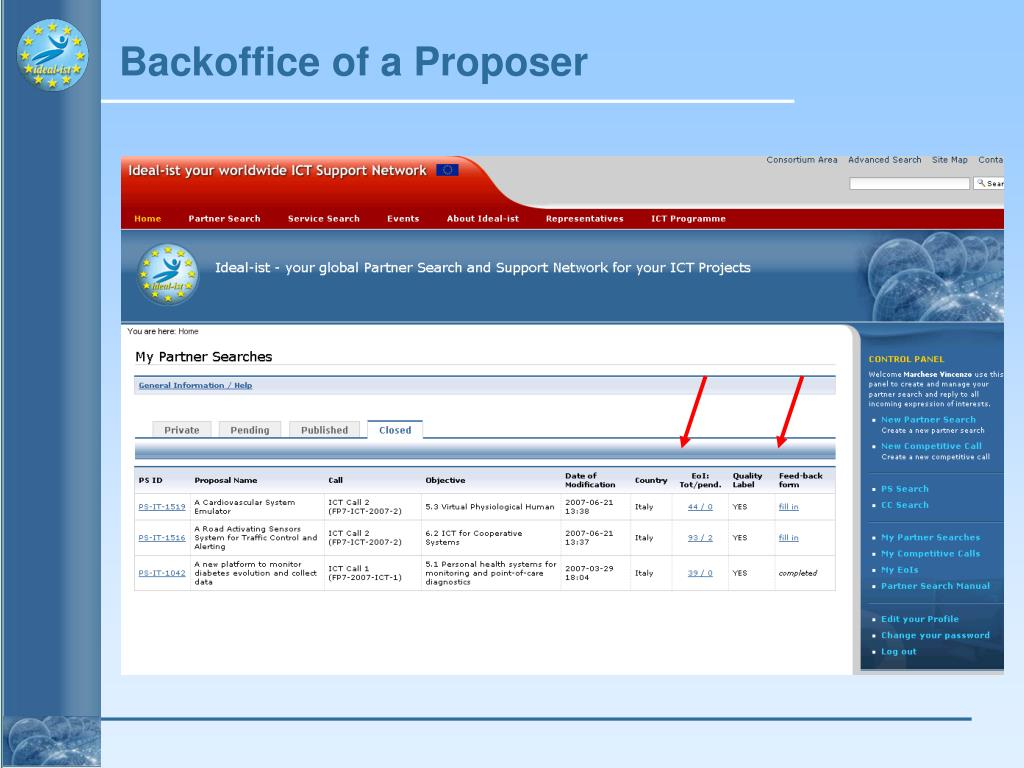 Backoffice of a Proposer