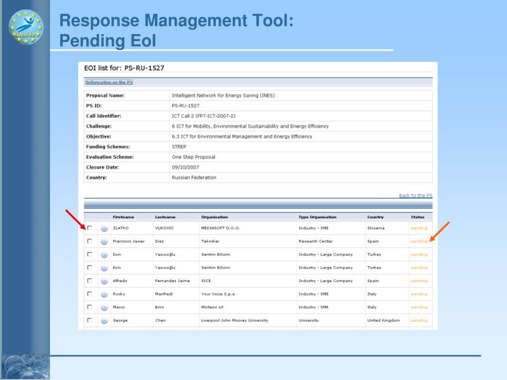 Response Management Tool: