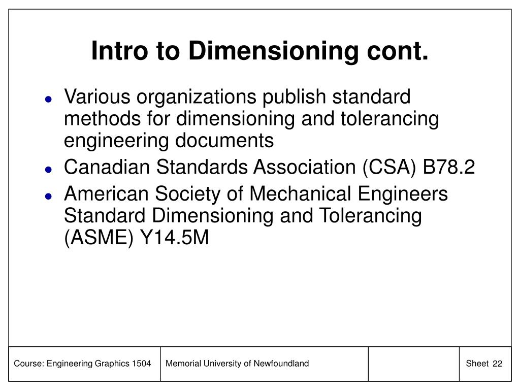 Intro to Dimensioning cont.