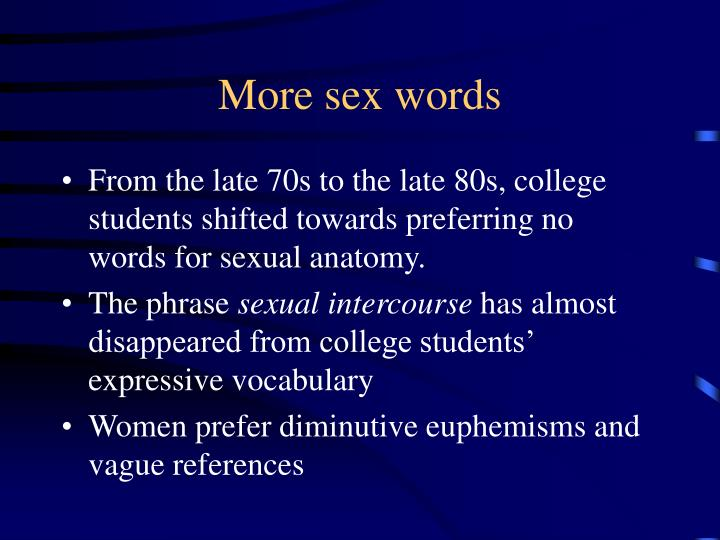More sex words