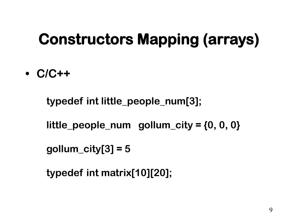 Constructors Mapping (arrays)