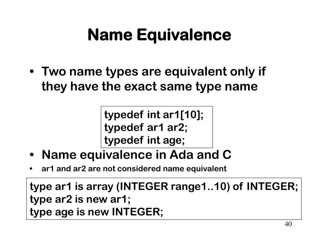 Name Equivalence