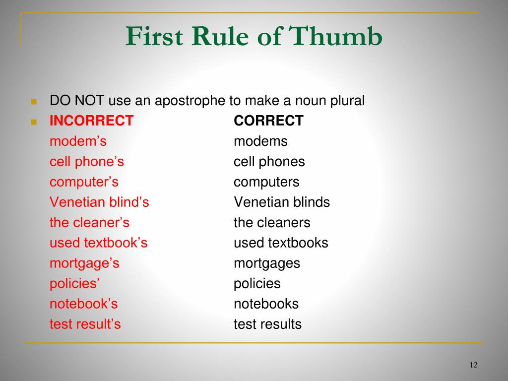 First Rule of Thumb