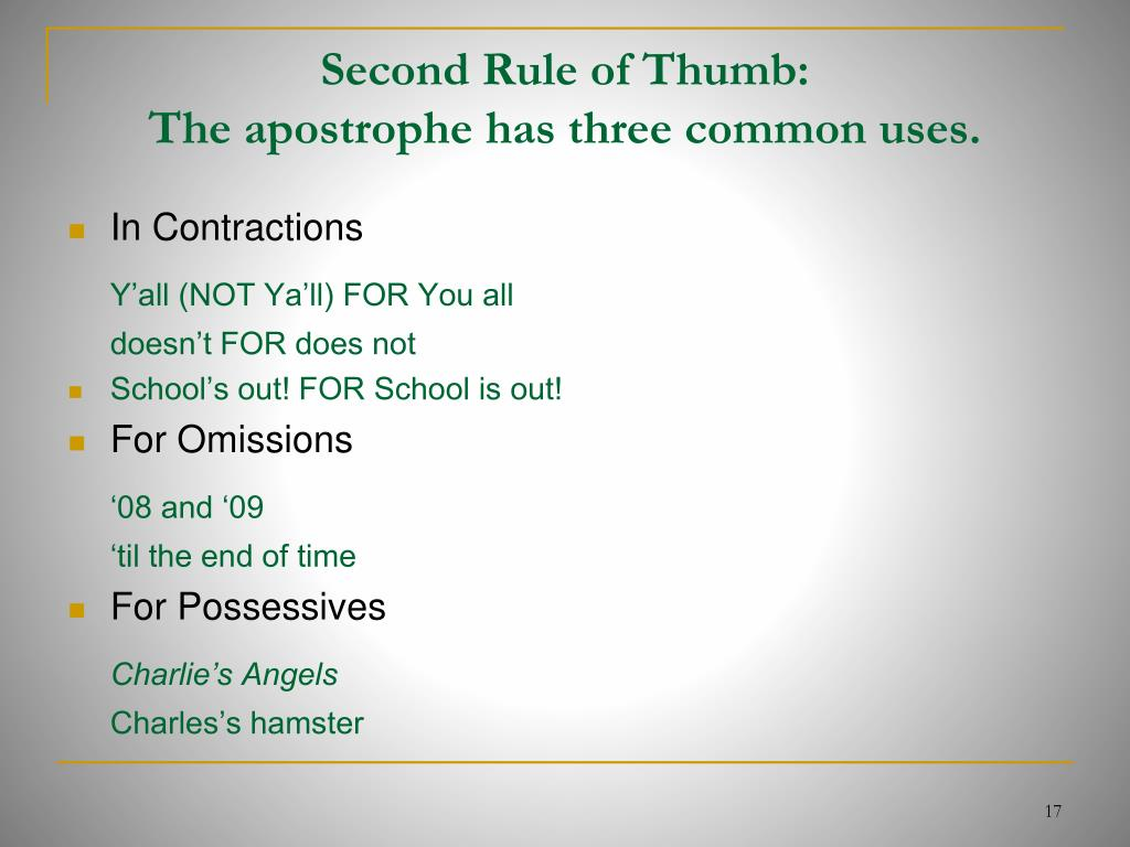 Second Rule of Thumb: