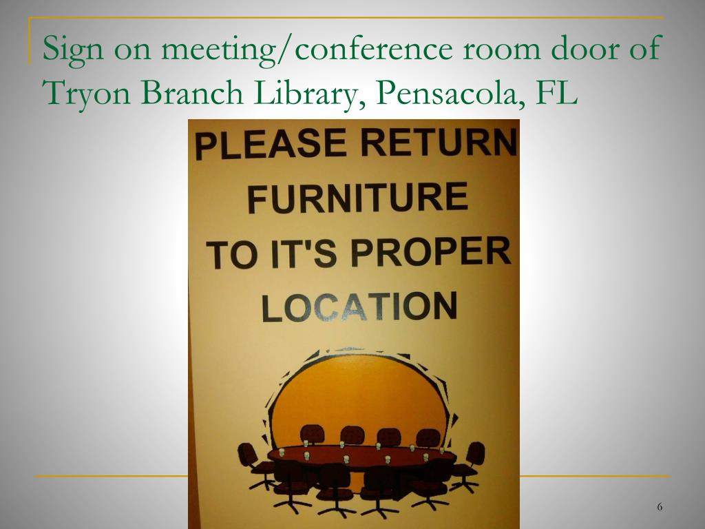 Sign on meeting/conference room door of Tryon Branch Library, Pensacola, FL