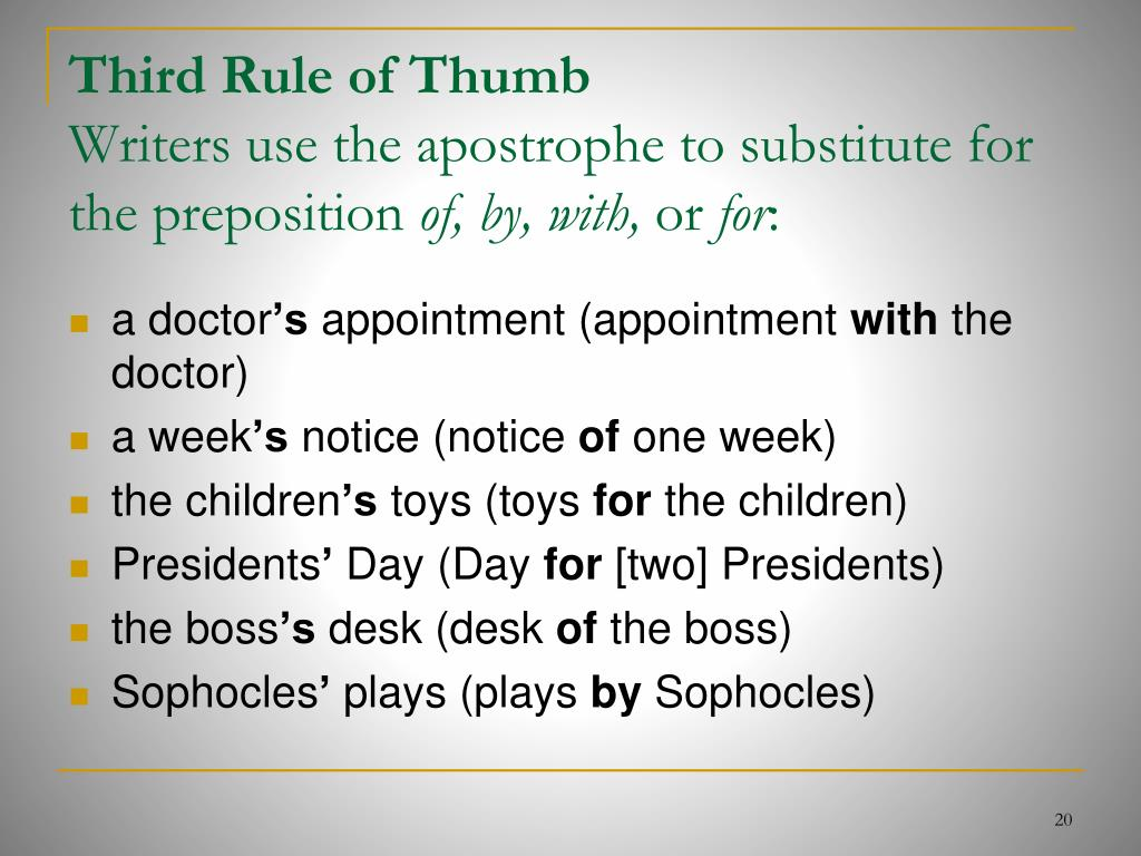 Third Rule of Thumb
